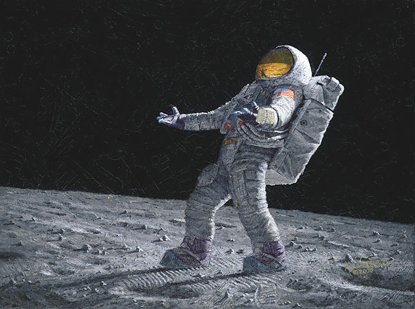 alan bean on the moon art painting